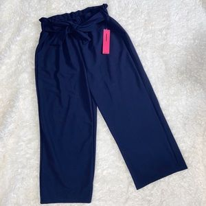 NWT ShoSho Tie Front Navy Blue Wide Leg Pants